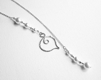 Scroll Jewelry Lariat Necklace Silver Pearl Necklace Pearl Drop Necklace Hammered Silver Necklace Scroll Jewelry Pearl Wedding Necklace