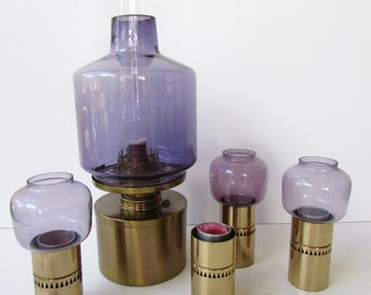 Mid Century Modern Hans - Agne Jakobsson Brass and Glass Lantern and Candlestick Set. Oil Lantern in Purple with Brass Candlesticks