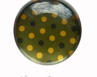 2 cabochons glue dots yellow green glass 20 mm M64