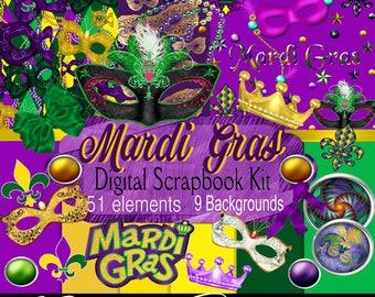 Digital Scrapbook kit, Mardi Gras, Digital Paper, clip art, Photo Props, Printable crafts, Greeting cards, Stationary, Transfer, CU
