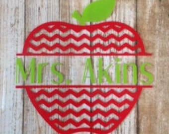 Apple Teacher Chevron Iron On Vinyl Decal Heat Transfer Gift Personalized Back to School Teacher Gift Appreciation Custom DIY