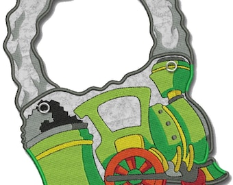 Bib for Baby, Children, Toddler personalized included in the price Organic Cotton Made in Europe (Steam Train)