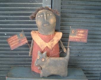 PriMitiVe Folk Art Lil Miss Firecracker Doll Pattern digital