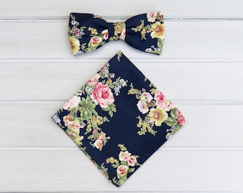 Floral Bowtie for Wedding, Navy Floral Bow tie, Pocket Square, Mens Bowtie, Groom Groomsmen BowTie, Mens Handkerchief, Floral Bow Tie