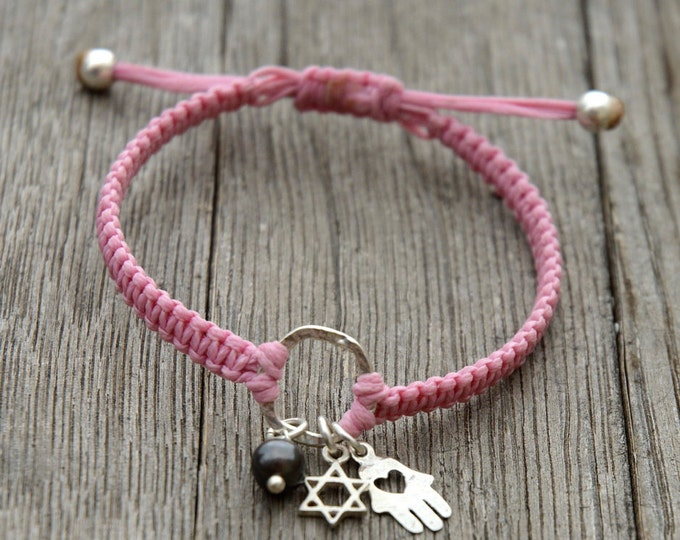 Circle of Protection 925 Sterling Silver Charms with Black Pearl on Macrame Adjustable Bracelet in Pink