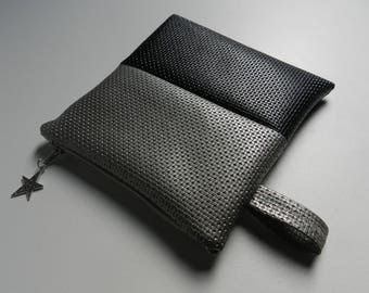 Toiletry bag / flat clutch in faux black and silver