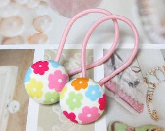 Handmade Kawaii White Pink Flowers Japanese Children Girl Fabric Button Ponytail Holder Elastic Hair Ties Girly Gifts Flower Floral