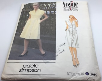 Vogue Sewing Pattern 2684 Adele Simpson Front Button Down  Shirtwaist Dress Sleeveless Spring Summer Loose Fitting  Bodice Size 8 UnCut