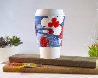 Patriotic Floral Coffee Cup Cozy, Eco Friendly Cotton Fabric Starbucks Hot Beverage Java Sleeve Gift for Tea Lover, Morning Travel Gift