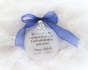 Memorial Christmas Ornament Loss of Loved One, If I had a flower, Free Personalization and Charm