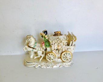 Vintage Royal Sealy Japan Cigarette Lighter Ash Trays Stage Coach Victorian Gold