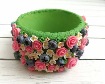 wide bracelet-flower bracelet-bracelet with roses- polymer clay bracelet-blueberry