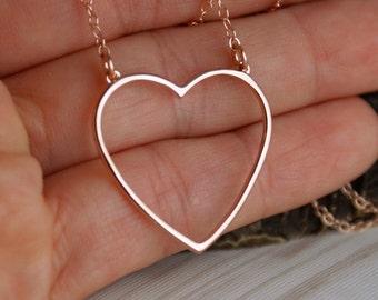 Big Heart Necklace in 14K Rose Gold plated, Gold plated or Sterling Silver Necklace - Everyday necklace - Delicate Layered Necklace