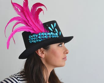 festive top hat - black with turquoise gems and pink feathers