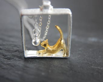 Cat kitten necklace 925 silver necklace cat square-bicolor-