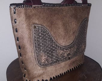 Lined Cowhide Tote with Tooling