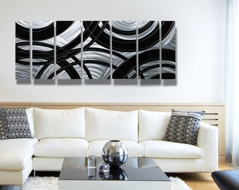 Large Silver & Black Contemporary Metal Wall Sculpture, Modern Metal Wall Art, Abstract Home and Office Decor - Crossroads by Jon Allen