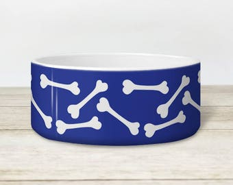 Blue Bone Pattern Dog Bowl - Heavyweight Ceramic Dog Bowl - White Bone Pattern over Blue