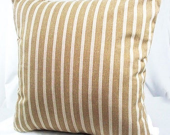 Brown throw pillows, Striped pillow cover, Home decor brown and cream, Striped 16 x 16 pillow cover, Decorative pillows couch brown beige