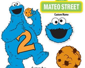 Custom Printable Sesame Street Cookie Monster Centerpiece Displays / Cookie Monster Birthday / Cake Topper