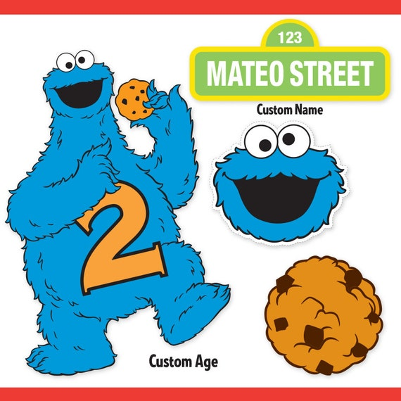 custom printable sesame street cookie monster centerpiece rh etsy com cookie monster clipart png cookie monster clipart black and white