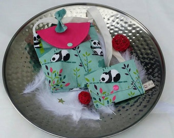 Gift PANDAS: girl shoulder bag and wallet personalized pink, green Mint, finishing bow.