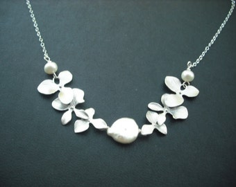 Sterling Silver Chain - Freshwater Coin Pearl and Silver Orchid Necklace