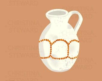 Vase Clip Art, Pitcher Clip Art, Rustic Pitcher, Digital Illustration, Digital Graphic, Instant Download, Commercial Use, PNG
