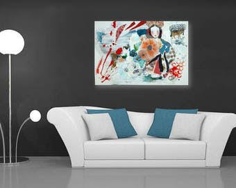 Turquoise  Abstract Painting, Canvas Painting, Contemporary art, Original Art,Poppies of Ukraine, Mixed Medias, Portrait, Turquoise Canvas