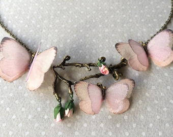 Handmade Cotton and Silk Organza Pink Butterflies Necklace on a Branch with Tiny Paper Rosebuds - OOAK
