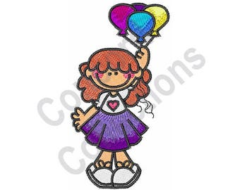 Girl - Machine Embroidery Design, Balloons