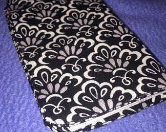 Fabric Checkbook Cover Damack Printed Black White  100% Cotton with Linen