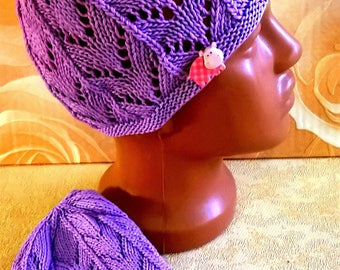 violet knitted hat