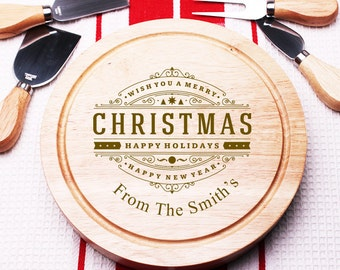 Wish You a Merry Christmas Personalized  5 pc. Gourmet Cheese Board Set