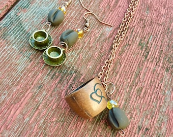 Coffee cup necklace, coffee bean earrings, coffee bean jewelry, coffee, coffee lover gift, coffee cup jewelry, coffee jewelry, tea earrings