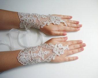 Bridal gloves lace wedding gloves ivory floral lace fingerless gloves