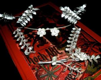 Elegant Vintage German Myrtle Wedding Crown with Partner Brooch~25th Wedding Aniversary Crown~Bridal Crown~ Elegant Silver Myrtle Crown