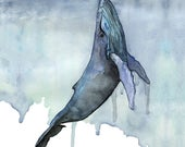 Whale Painting, Watercolo...