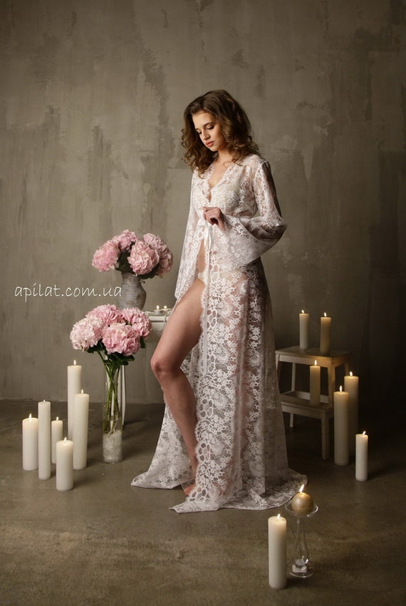 Long Lace Bridal Robe F3 Bridal Lingerie Wedding Lingerie