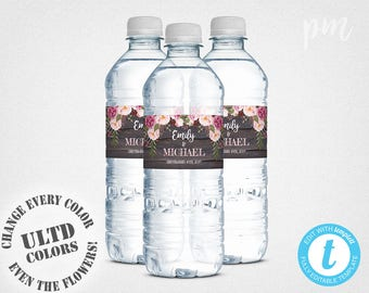 Wedding Water Bottle Labels Template, Printable Water Bottle Label, Personalized Water Bottle Labels, Instant Download, Wedding Favors