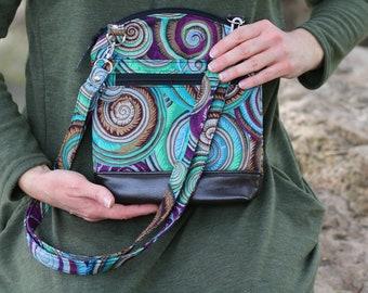 small crossbody bag - small vegan purse - gift for her - purple green brown spiral shells - zipper purse