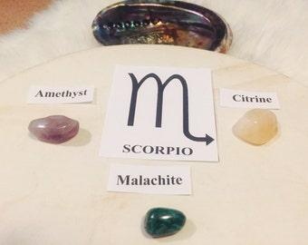 Scorpio Astrology Stones / Malachite / Citrine / Amethyst / Reiki Charged / Scorpio Gifts