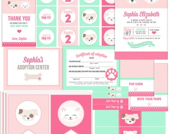 Pink & Mint Kitten and Puppy Party Collection Kit - Birthday Invitations, Tags, Banner, Adoption certificate, Cupcake toppers