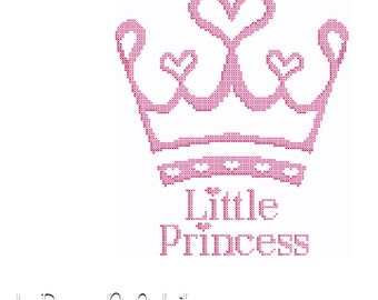 Modern cross stitch pattern little princess crown little girl decoration