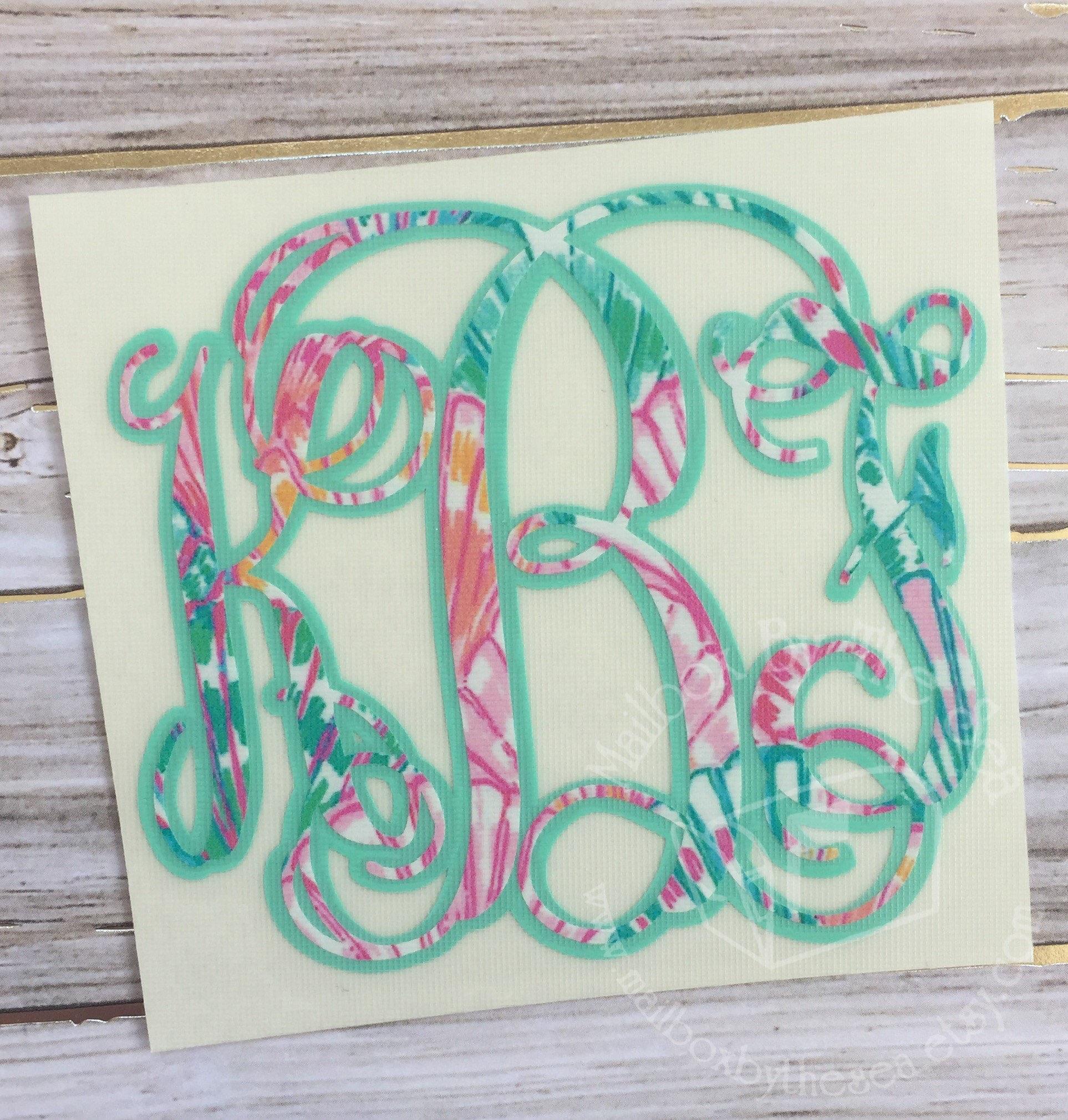 Lilly Pulitzer Inspired Shadow Vine Monogram Decal Yeti