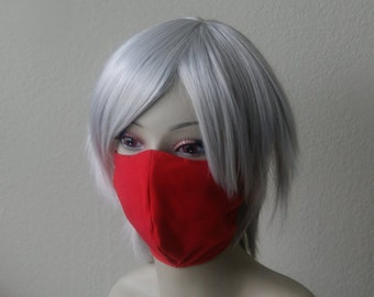 Red Ninja Mask - Jrock Style Gothic Fashion Punk Mask Ninja Cosplay Akali Taki Costume Visual Kei Elastic Strap-On Mask