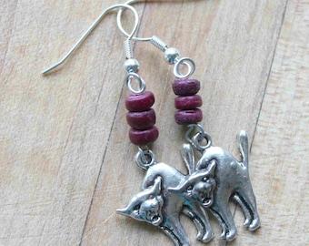 Silver Cat earrings,deep purple wood beads,Halloween cat earrings,wood beads,silver cats,deep purple wood bead earrings,movie prop,theater