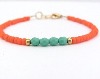 Neon Orange Friendship Bracelet, Turquoise Blue Bracelet, Beaded Bracelet, Neon Orange, Minimal Bracelet, Miss Ceces Jewels, Hawaii Jewelry