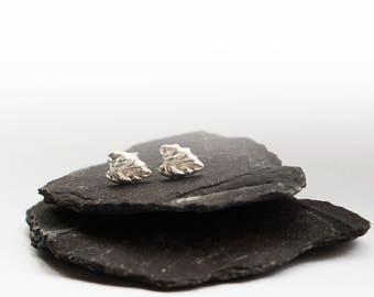 Little Leaf Silver Stud Earrings ~ earrings, silver, silver earrings, studs, modern, minimal, geometric, bar earrings, leaves, autumn