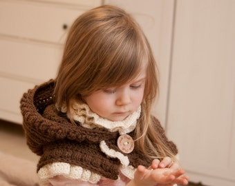CROCHET PATTERN hooded cowl Leena with inner cowl and ruffles (baby, toddler, child and adult sizes)